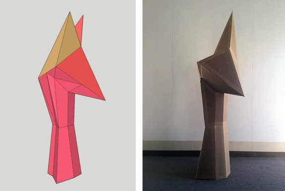 High School Art: Polyhedral Cardboard Sculptures