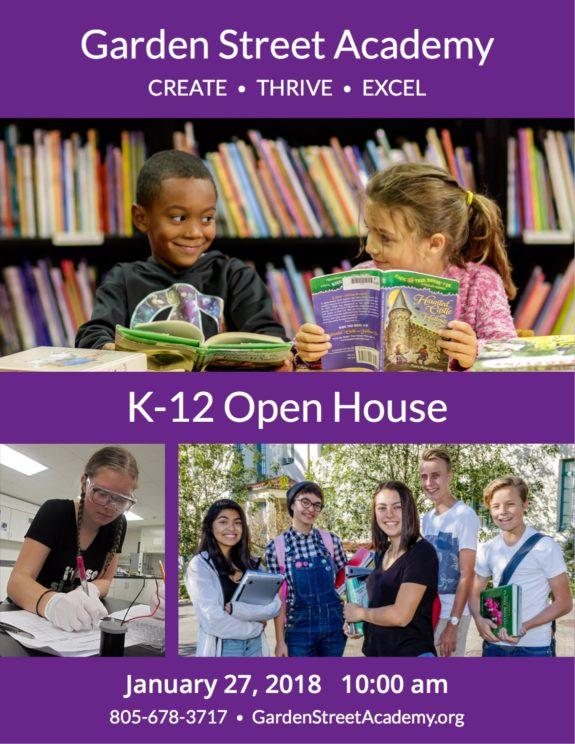 Garden Street Academy K-12 Open House 2018 Flyer