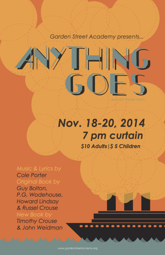 Garden Street Academy Play Production Poster for Anything Goes