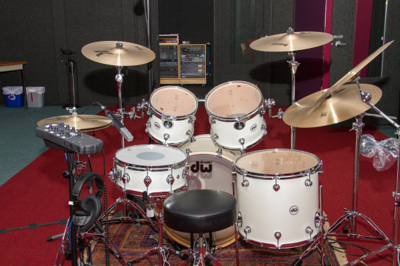 Garden Street Academy Recording Studio DW Drum Kit with Control Room in Background