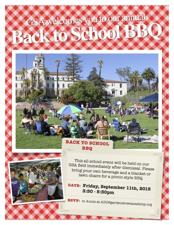 Garden Street Academy Back to School BBQ 2015 Flyer