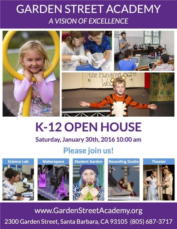 Garden Street Academy Open House Flyer January 2016