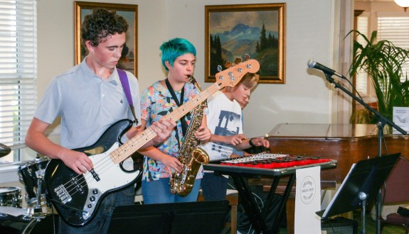 The Garden Street Academy Jazz Band Bass and Saxophone Players at Garden Court Retirement Community