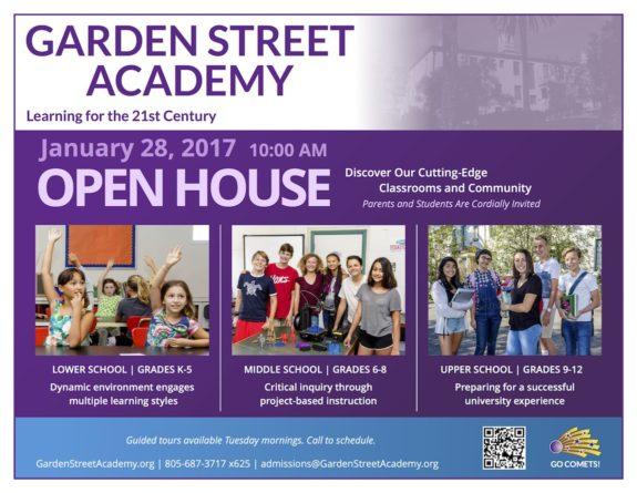 Garden Street Academy Open House 2016-17 Flyer