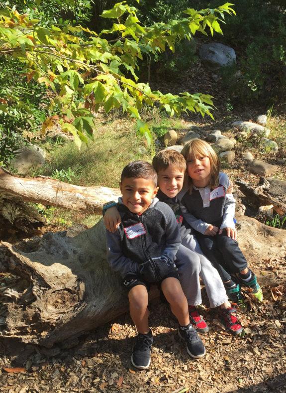 Garden Street Academy K-1 Field Trip Santa Barbara Botanic Garden Students - Sitting on Log