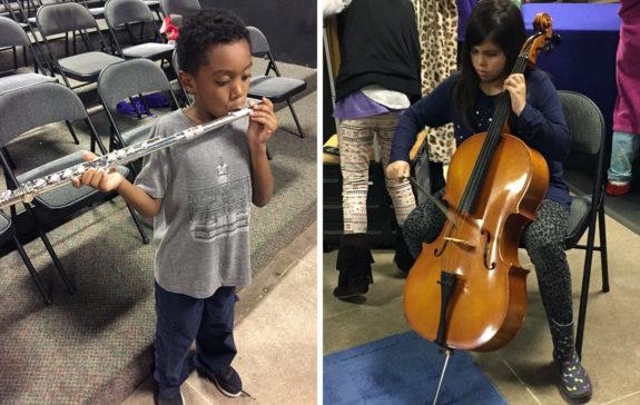 Students Playing Flute Cello Music Van Garden Street Academy