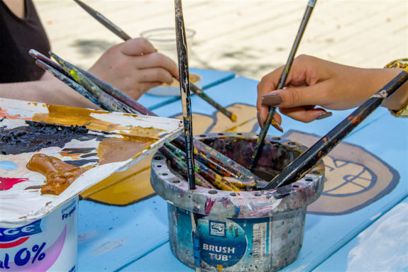 Garden Street Academy High School Students Egypt Table Painting Brushes