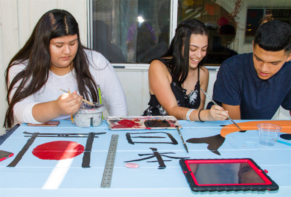 Garden Street Academy High School Students Japan Table Painting 2