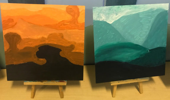 Garden Street Academy Middle School Tint and Shade Overlapping Landscape Paintings