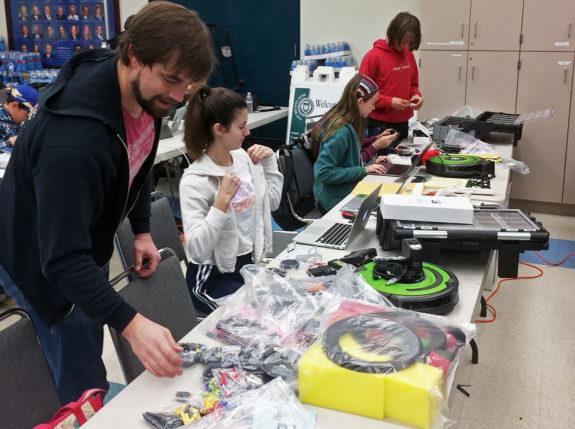 Students Building Robots at Garden Street Academy Robotics Team Botball Workshop