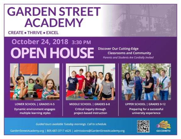 Garden Street Academy Open House Postcard 2018-19