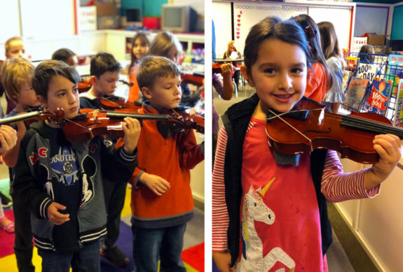 Kinder and First Grade Students Learn String Instruments at Garden Street Academy