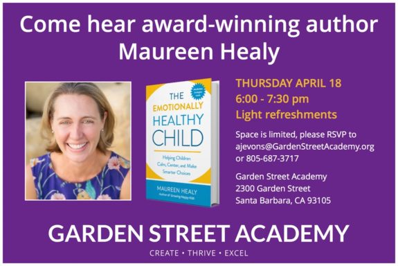 Maureen Healy - The Emotionally Healthy Child Parent Workshop Flyer for Garden Street Academy