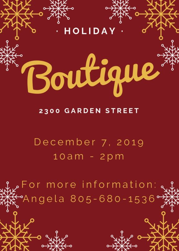 Garden Street Academy Holiday Boutique Flyer 2019