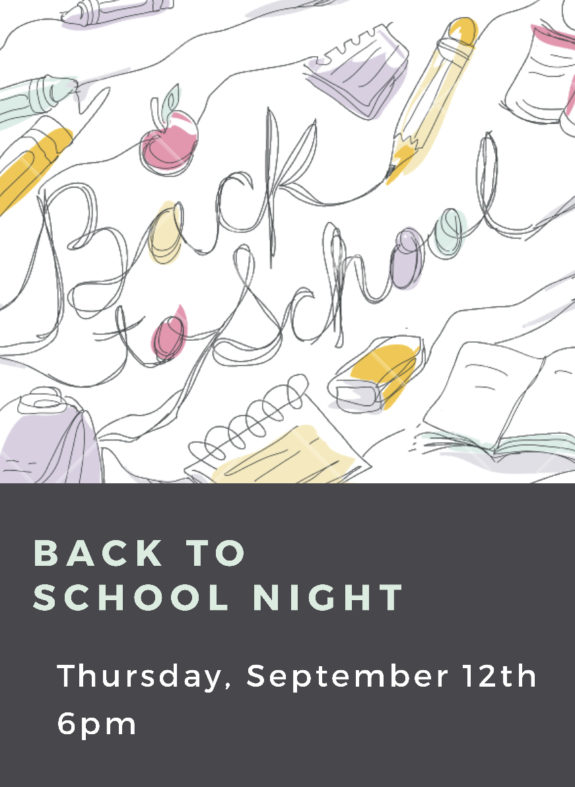 Garden Street Academy Back to School Night Flyer 2019